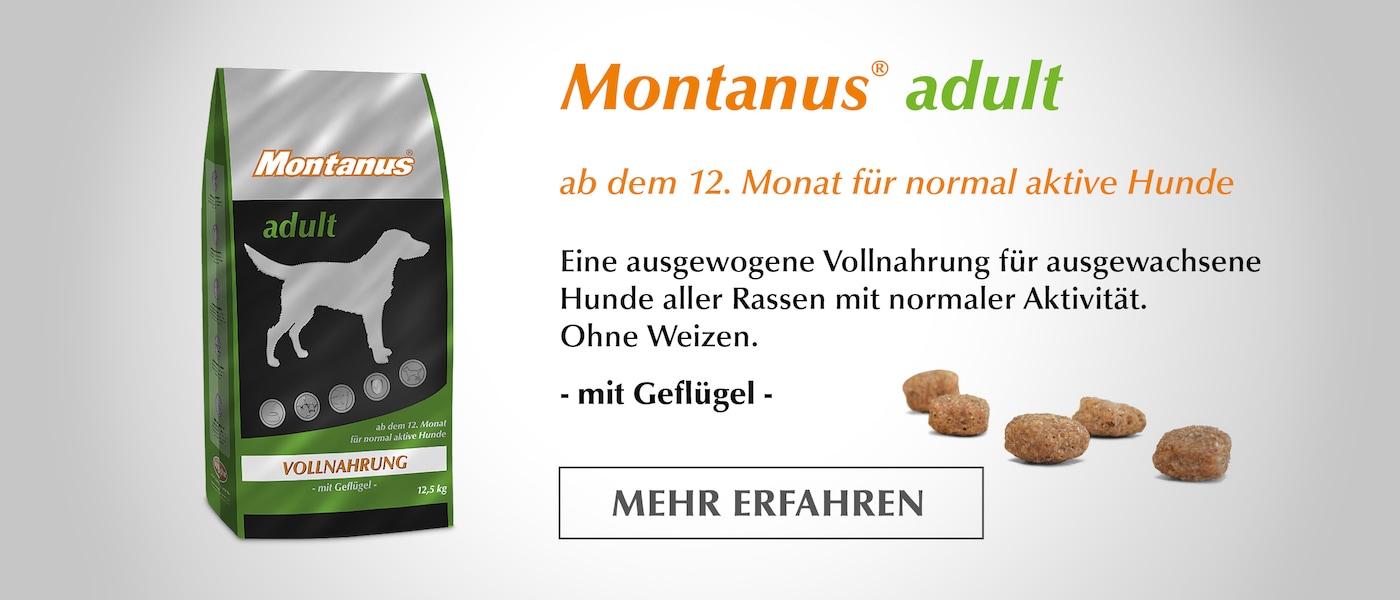 Ab dem 12. Monat für normal aktive Hunde - Montanus® adult